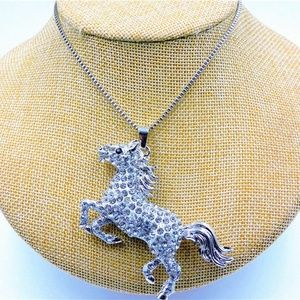 Western Silver & Crystal Rearing Stallion Necklace